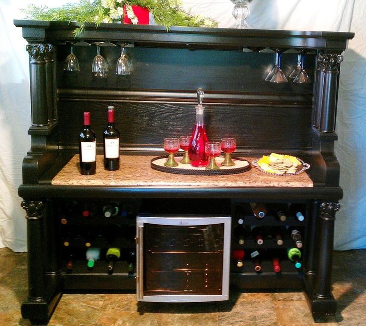 My husband made this beautiful piece. Check it out on eBay. Antique Piano Bar.Wine Holder Chiller.Top Lights.Bottom Wine Bottle Holder.LOOK!