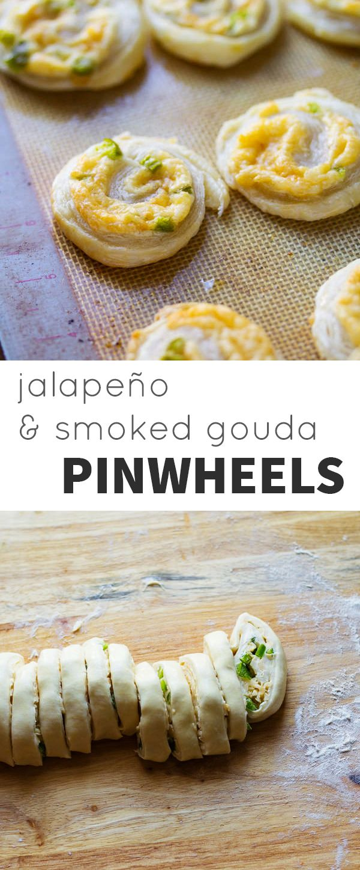 Jalapeno and Smoked Gouda Puff Pastry Pinwheels @sweetpeasaffron