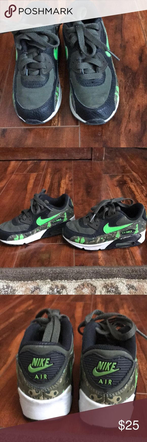 Boys Nike Air Max sneakers Boys Nike Air Max sneakers  Size: 11 C Olive green, camouflage, lime green, black, and white Thick sturdy sole with air shocks  Lace up Toe bumper Excellent condition Nike Shoes Sneakers