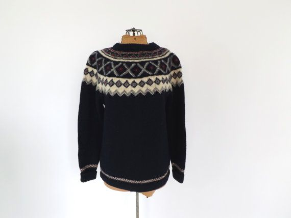 Vintage Norwegian 1960s Ski Sweater Navy Blue Winter Wool Alesund Norway Foldal Sweater Geometric Pattern Folk Winter Boho 60s 1970s sweater