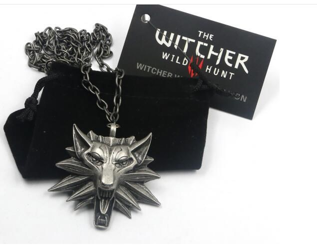 New 2016 men jewelry Wizard Witcher 3 Medallion Pendant Necklace Wolf Head Necklace Pick Color Halloween Necklaces +a bag + card