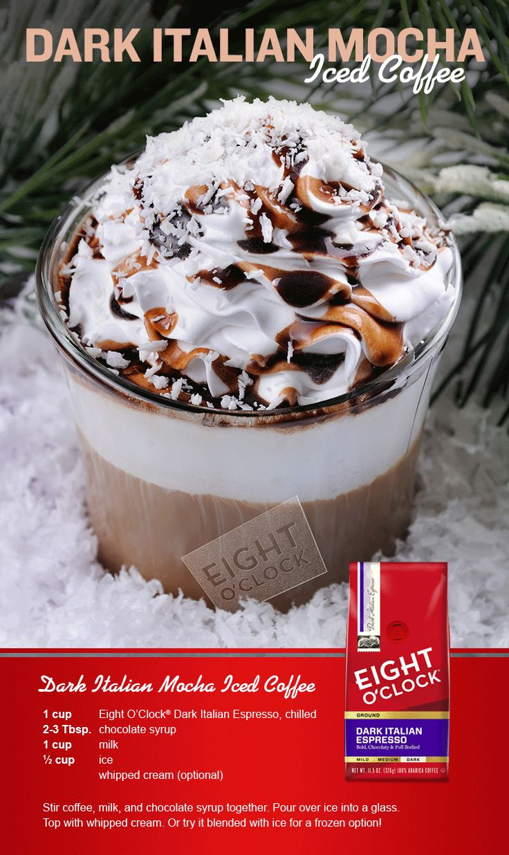 Who says Holiday coffee drinks have to be all warm and toasty? This season, surprise your guests with something cold, sweet and delicious instead! Click the pin to find other fun recipes from Eight O'Clock for the holidays!