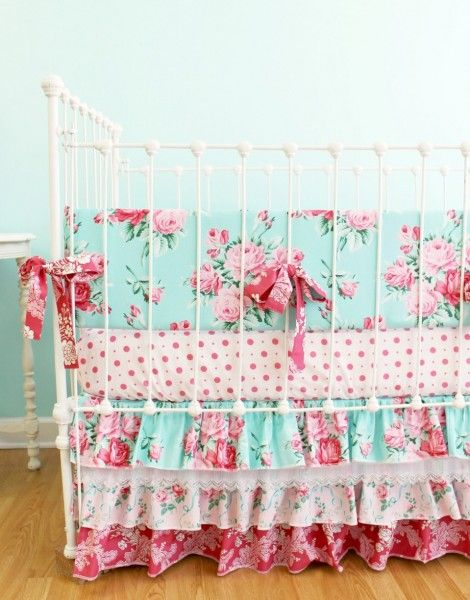 Obsessed with this shabby chic nursery bedding for Juliette!
