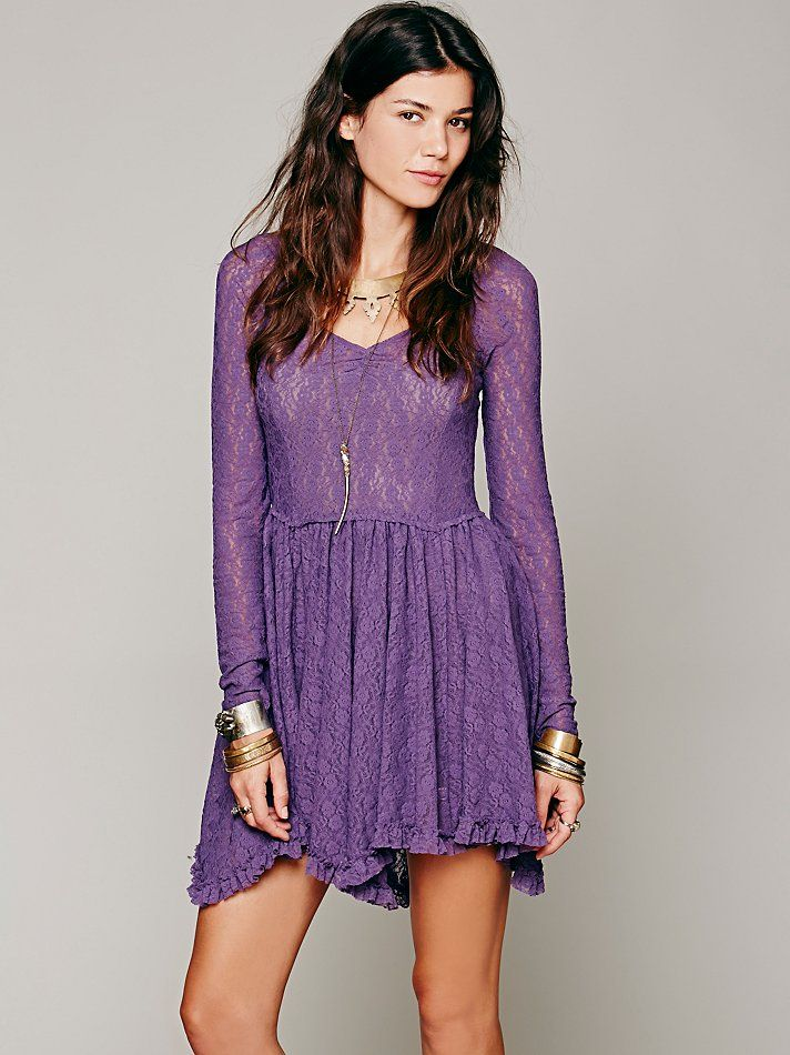 Intimately Long Sleeve Lace Slip at Free People Clothing Boutique