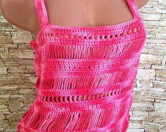 Mecos de ganchillo ropa de playa de encaje Crochet top / Bohemia / tapas de horquilla Crochet / telar Top / Top de encaje de las niñas / rojo del ganchillo superior / del ganchillo de algodón