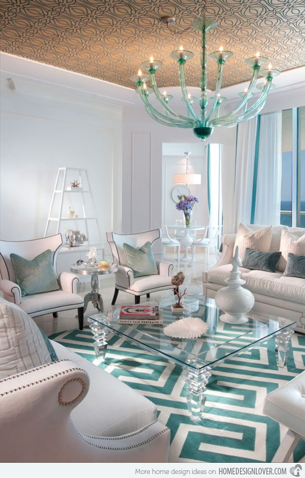 turquoise rooms | 15 Scrumptious Turquoise Living Room Ideas | Home Design Lover