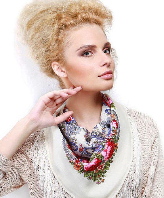Russian Pavlovo Posad Shawl white pink Wool Vintage от russianicon