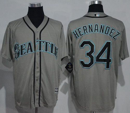 mariners 34 felix hernandez grey new cool base stitched mlb jersey