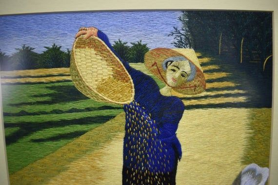 Chinese Silk Embroidery Art Tapestry Happy Worker in Rice Field Signed Art Matted and Framed Asian C