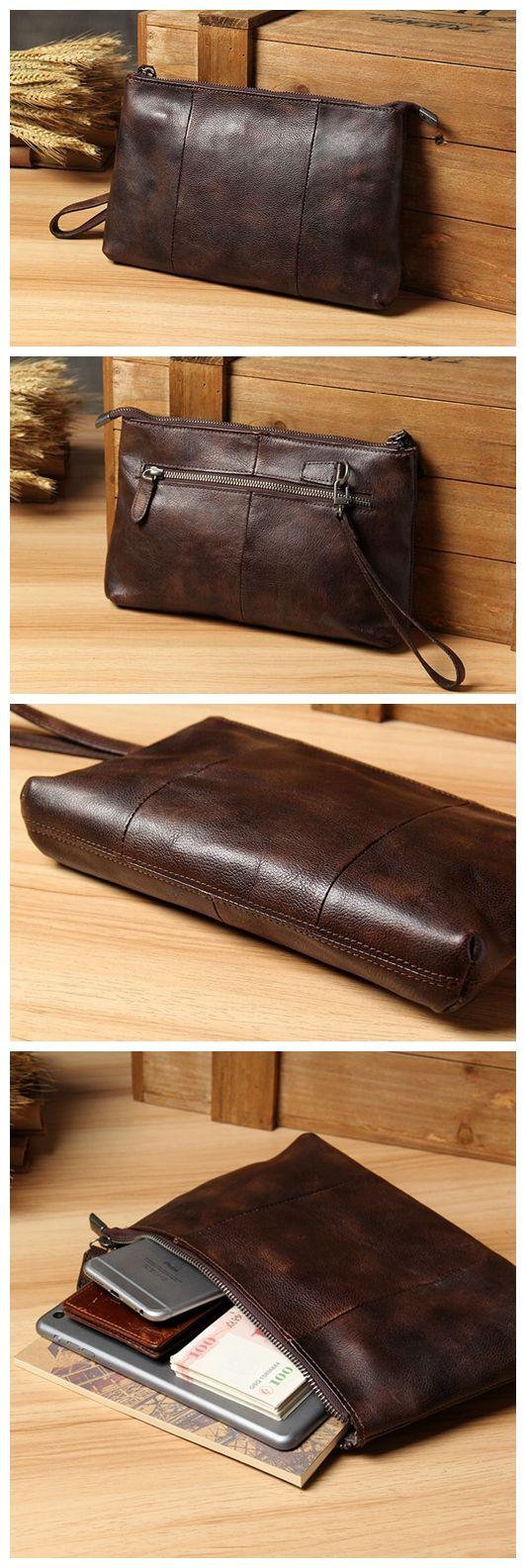 Handcrafted Men's Leather Clutch Handbag iPad Sleeve iPhone Case 14113
