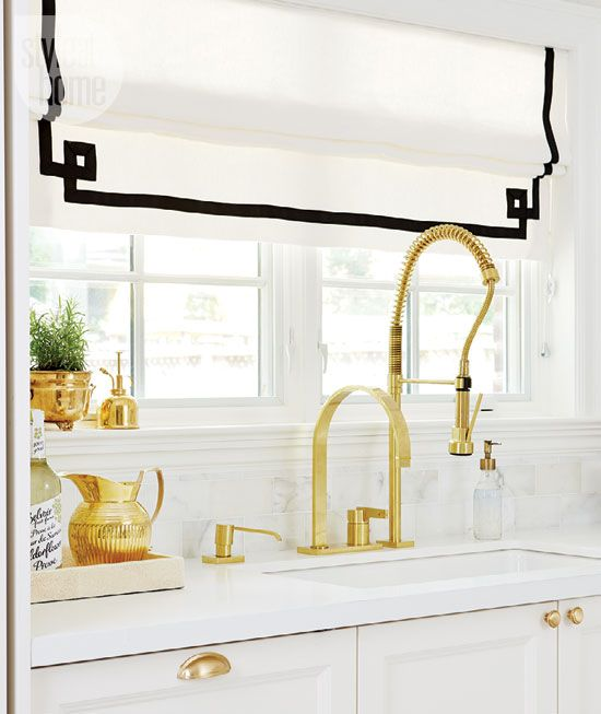17 best images about window coverings on pinterest for Black white and gold kitchen