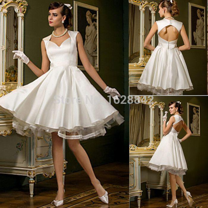Short wedding dress 2016 Backless wedding dresses dress bride vestido de noiva casamento robe de mariage Free shipping