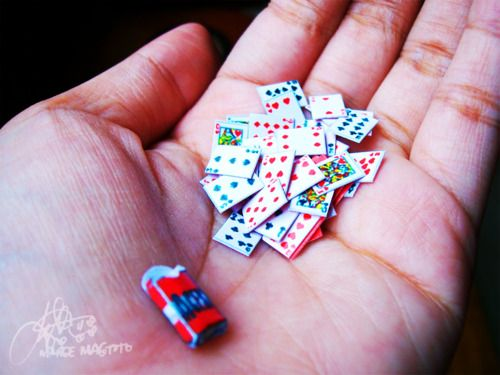 Miniature deck of cards ~ I use to have many decks of cards, ranging in size from this size to gigantic!  :)
