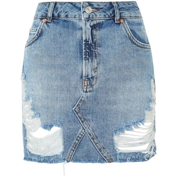 Topshop Moto Rip Denim Mini Skirt ($41) ❤ liked on Polyvore featuring skirts, mini skirts, denim miniskirt, distressed denim mini skirt, topshop skirts, ripped denim mini skirt and short skirts