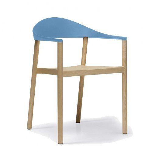 Plank Monza Armlehnstuhl, hellblau matt Gestell esche natur