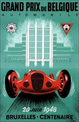 Grand Prix 1948 De Belgique Brussels Car Racing Vintage Poster Print