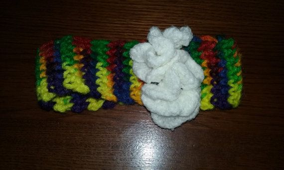 Newborn crochet rainbow headband by MultitaskingMombie on Etsy