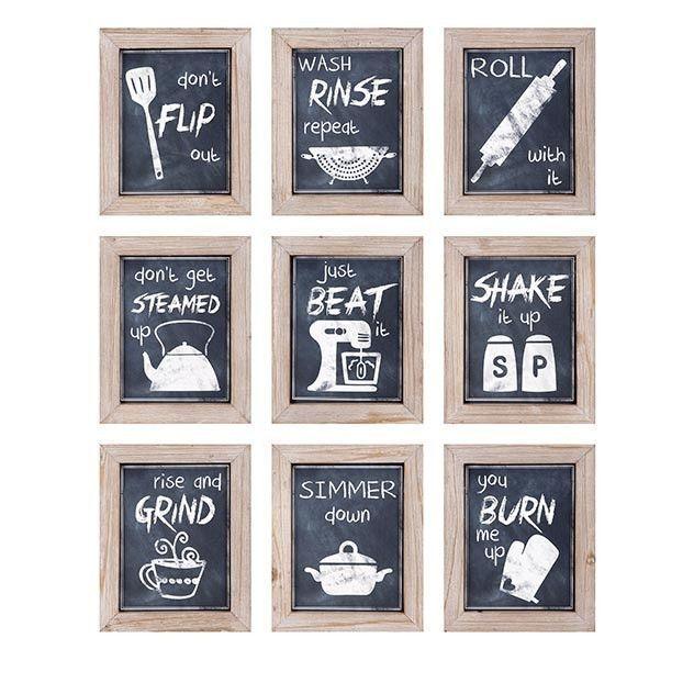 Set Of 9 Farmhouse Kitchen Wall Art