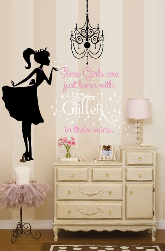 Ballerina Wall Decal, Glitter Wall decal, Nursery Wall Decal, Girls Wall Decal, Decals, Chandelier Wall Decal, Shabby Chic Wall Decal
