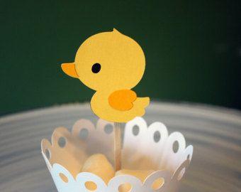 Rubber Ducky Primeros de la magdalena / Cake Toppers / Mini Primeros de la magdalena / Centros de mesa