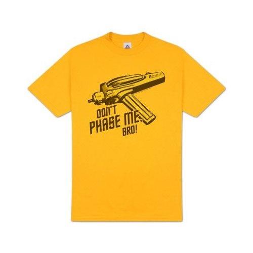 Star Trek DONT PHASE ME BRO Phaser Taser Funny Adult Gold T-shirt