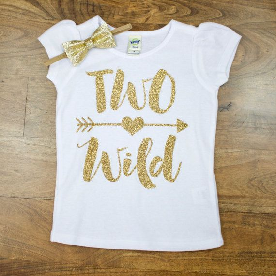 "Gold ""Two Wild"" 2nd Birthday Shirt 