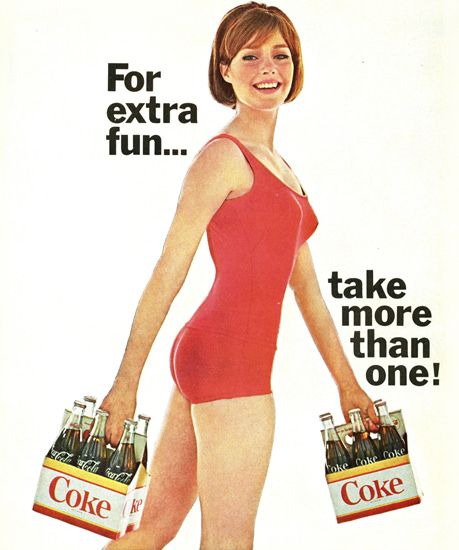 Coca-Cola Swim Suit Six Pack Girl For Extra Fun - Mad Men Art: The 1891-1970 Vintage Advertisement Art Collection