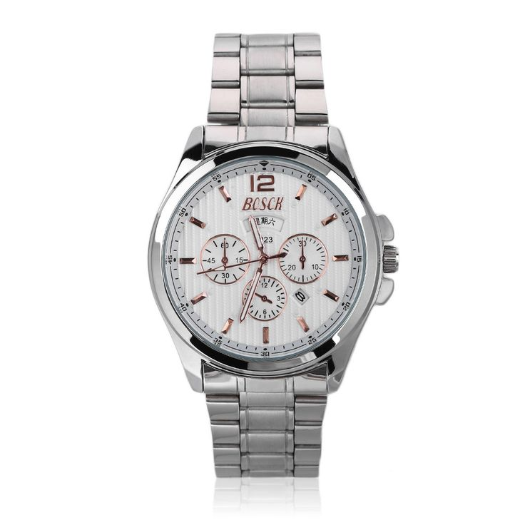 High Class Quartz Watches Casual Double Calendar Watches Stainless Steel Sale