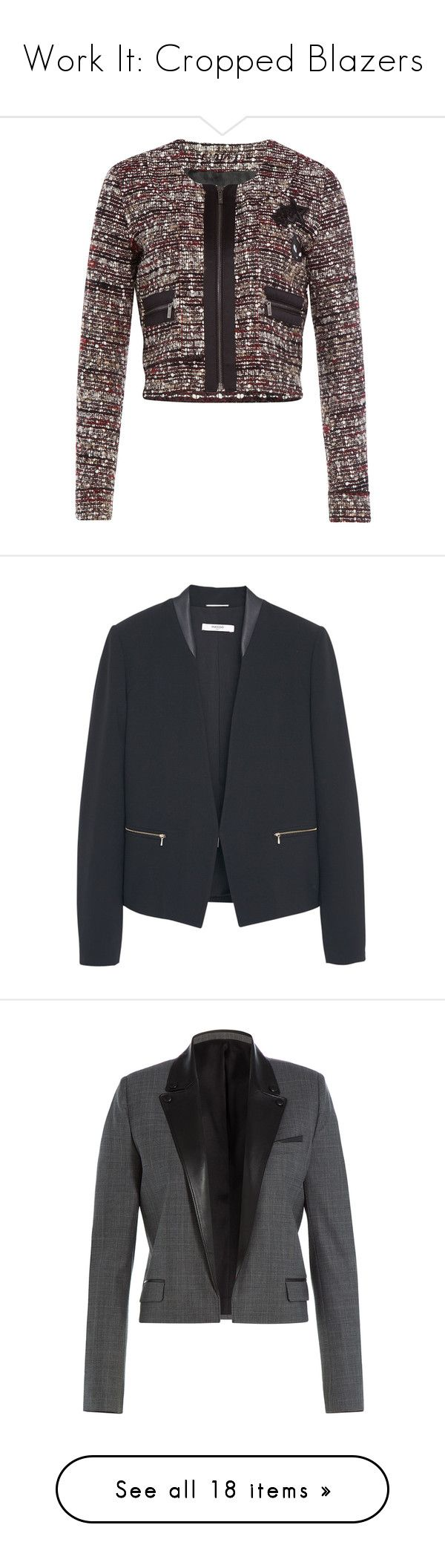 """""""Work It: Cropped Blazers"""" by polyvore-editorial ❤ liked on Polyvore featuring croppedblazers, outerwear, jackets, blazers, coats, multicolor, colorful blazers, tweed jacket, sequin jacket and slim fit blazer"""