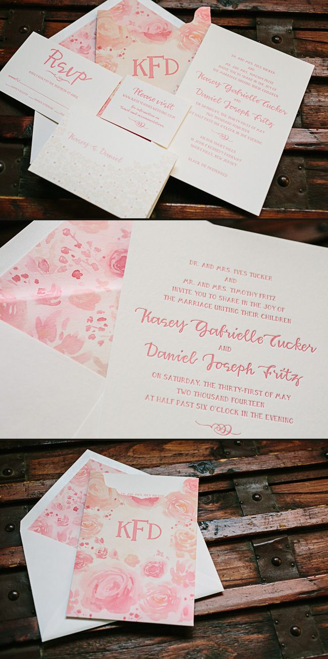 Gus &Ruby Letterpress submitted this gorgeous custom wedding suite for Kasey and Daniel's May wedding. We digitally printed the watercolor invitation sleeve and envelope liners, which featured romantic flowers invarying shades of pink. A letterpress printed invitation, reply card, and website card were tucked into the sleeve, which included a letterpress printed monogram. We also …