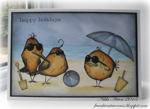 Addicted to Art: Crazy birds on vacation using Tim Holtz, Ranger, Idea-ology, Sizzix and Stamper's Anonymous products; Mar 2015