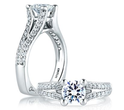 Style MES017 Split Flowering Diamond Shank Engagement Ring A signature A.JAFFE piece, this split shank engagement ring has shared prong diamonds going 1/2 way down either side. Matching band MRS017. #round #signature