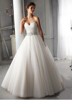 Ball-Gown Strapless Sweetheart Chapel Train Chiffon Wedding Dress With Ruffle Beading - Alternative Measures -