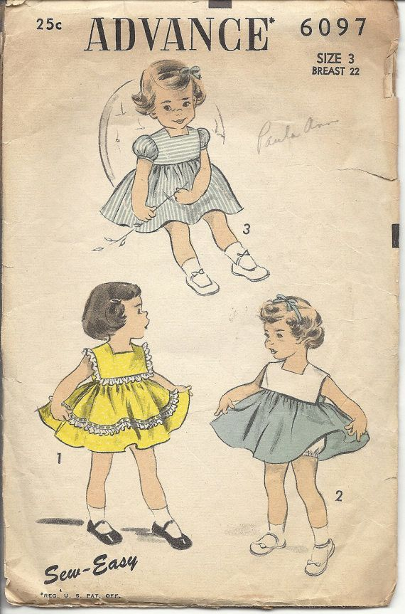 Advance 6097 1950s Vintage Sewing Pattern Girls One Piece Dress with Panties 50s Size 3 Unprinted
