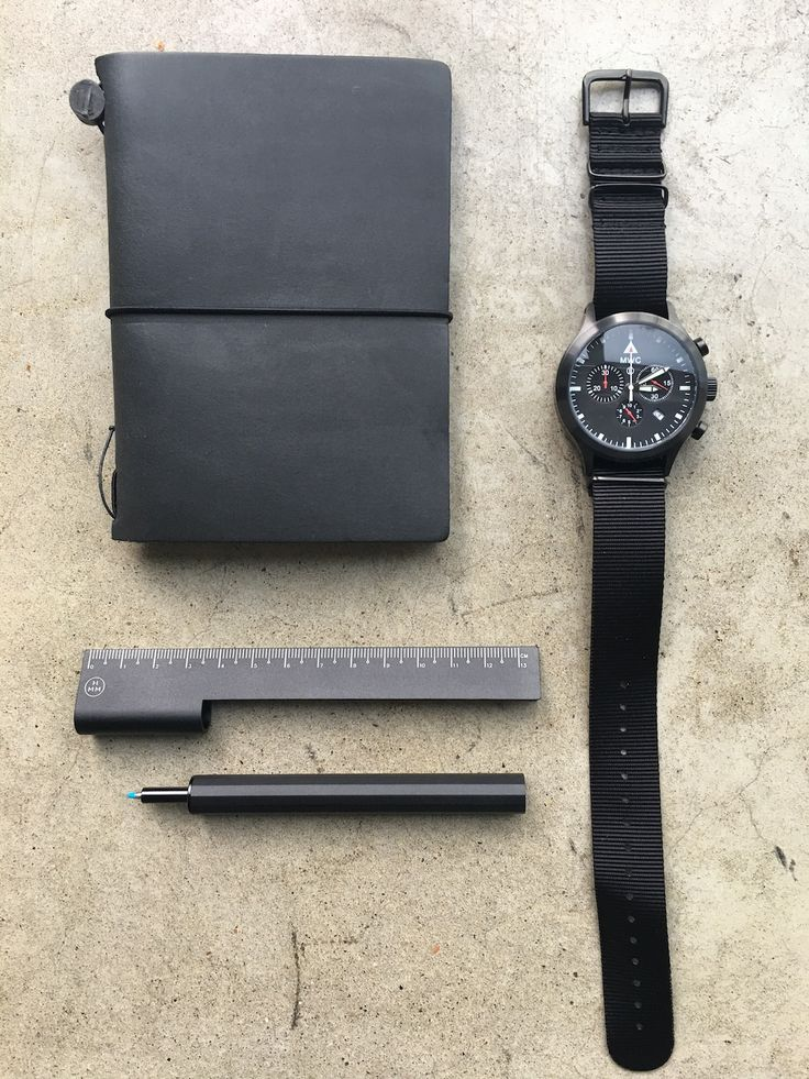 Who needs colour? Check out MWC MIL-TEC MKVI PVD watch (https://www.nomadostore.com/collections/military-watch-company-mwc/products/mwc-mil-tec-mkvi-pvd-stainless-steel-military-pilots-chronograph), black Midori Traveler's Notebook (https://www.nomadostore.com/collections/travelers-company-japan/products/travelers-company-travelers-notebook-black-passport-sizeand), HMM Rule/One (https://www.nomadostore.com/collections/hmm/products/hmm-rule-one) in lovely deep matt black.  #midori…