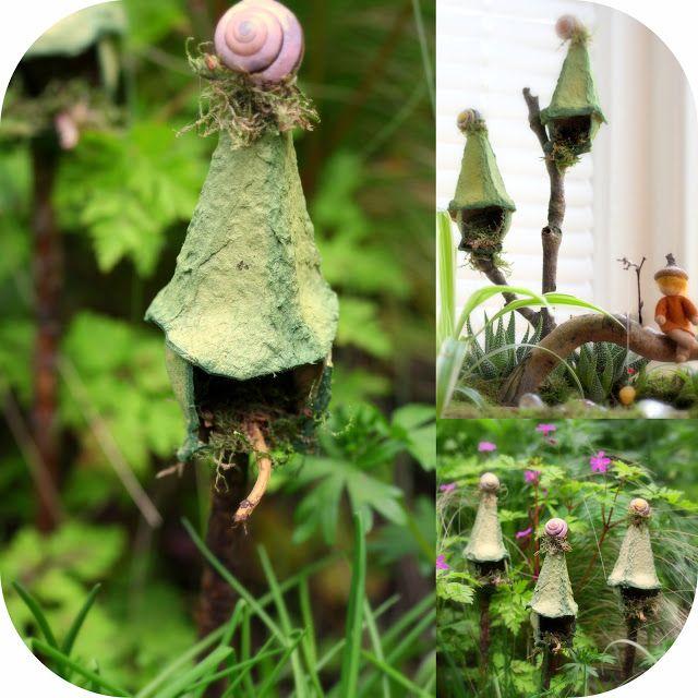 Daily Colours : Fairy Houses - DIY Egg Carton Fairy Bird-Houses Lots of other fairy house ideas too!