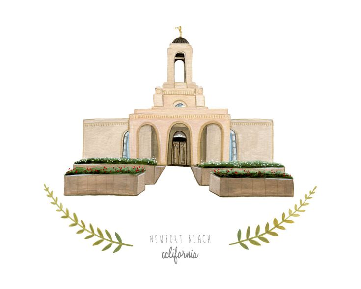Newport+Beach+California+LDS+Temple+Illustration++by+HeatherMettra,+$20.00