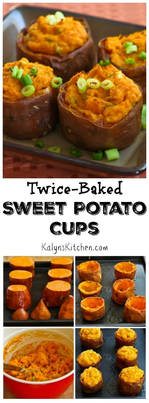 Twice-Baked Sweet Potato Cups with Sour Cream, Chipotle, and Lime are delicious for a special meal.  [found on KalynsKitchen.com]