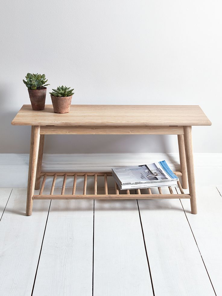 Our Aalto range combines Scandinavian design, sustainability and quality for a timeless and stylish collection that is suitable for all spaces in your home. Our occasional table has been crafted from durable carbonised bamboo with a stylish and useful slatted shelf underneath. The perfect table for your living space with space on the shelf for books, magazines and papers, this occasional table also works well as a bench for your hallway or landing.