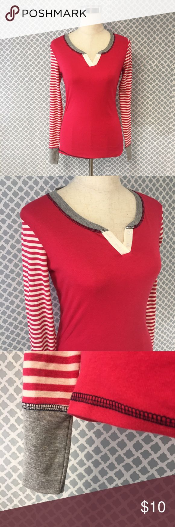 Tommy Hilfiger Long Sleeve Henley Top Women's size small new with tags Tommy Hilfiger long sleeve Henley top. This top is part of a two piece set which I assume were pajamas, but it's so cute in my opinion by itself with jeans as well! Sorry I could not find the bottoms to match 😐 Tops Tees - Long Sleeve