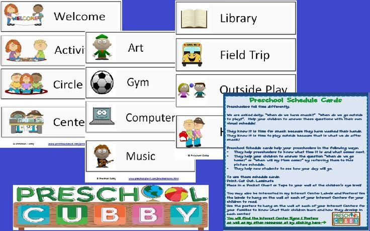 """Preschool Schedule Card Resource   21 Activities for your Preschool Classroom Schedule!  Help your preschoolers """"tell time"""" on their own!"""