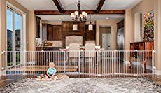 An extra wide baby gate ranges in size from about 44 inches to nearly 200 inches wide. We compare some of the best hardware mounted and pressure mounted models with and without doors.