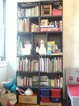 Enzo Mariu0027s Awesome DIY Bookshelf Iu0027ll Do This With Stronger Plastic Crates.  Milk Crate Furniture ...