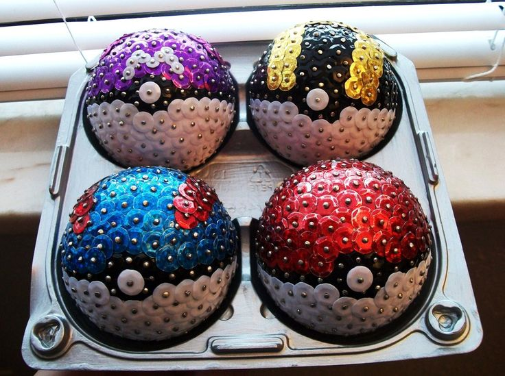 Pokemon Ornaments: Made from sewing pins, sequins, and styrofoam balls. I'm…