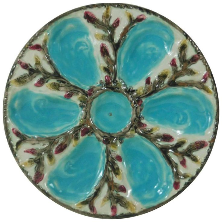 19th Century Majolica Turquoise and White Oyster Plate S.Fielding and Co | From a unique collection of antique and modern dinner plates at https://www.1stdibs.com/furniture/dining-entertaining/dinner-plates/