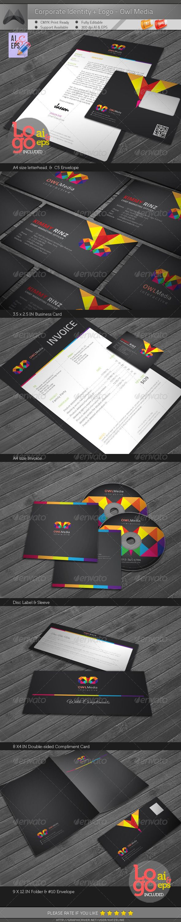 Owl Media - Corporate Identity Package #GraphicRiver [Corporate Identity Package – Owl Media] contains: 1. Letterhead : A4 size 2. Invoice : A4 size 3. Business Card : 3.5X2.5 in 4. C5 Envelope 5. #10 Envelope 6. Disk Label 7. Disk Sleeve 8. Compliments: 8X4 in 9. Presentation Folder: 9×12in 300dip CMYK Print Ready + 0.25in Bleed Adobe AI CS5 & EPS 10.0 Logo Included (AI & EPS)__Please the 'Screenshots' to see the Logo Preview The Identitiy Package is based on the one logo. Other color…