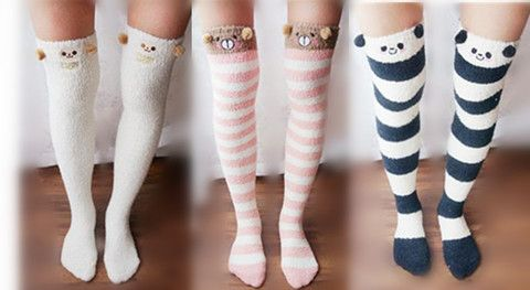 50a434486e0 Cutie Animal Fleece Thigh High Long Socks SP154247