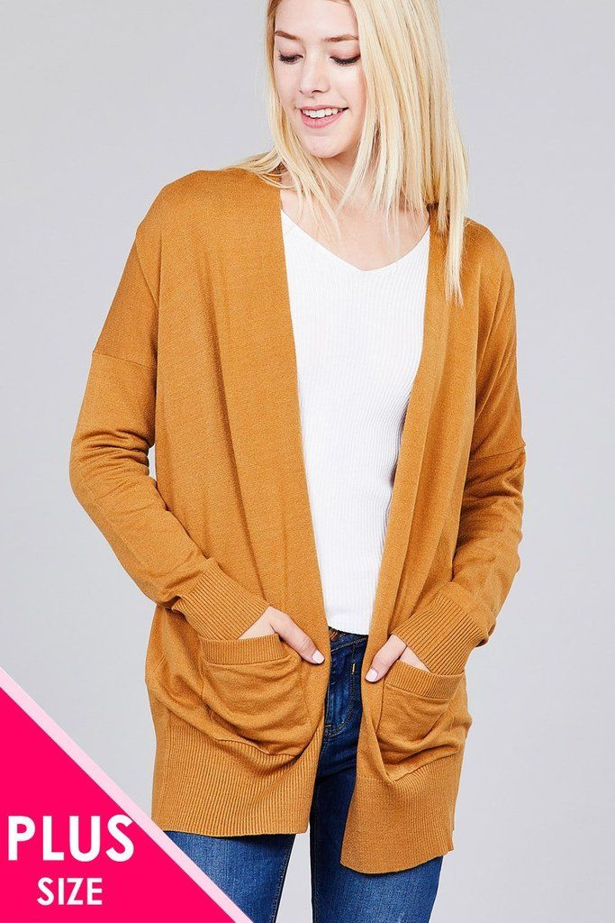 93e14e42904 Ladies fashion plus size long dolmen sleeve open front w pocket sweater  cardigan