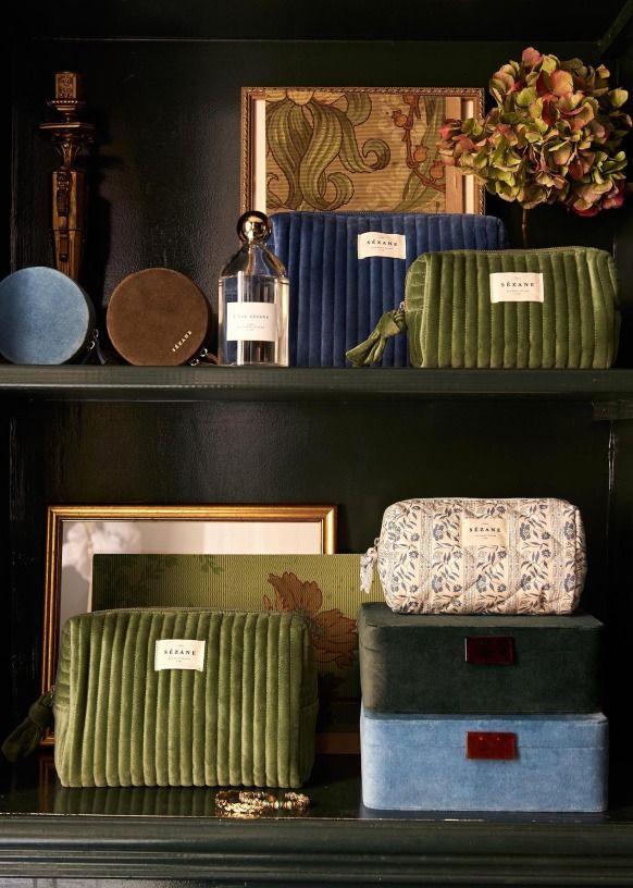 Toiletry Bag - Blue Velvet - Organic Cotton - Sézane in ...