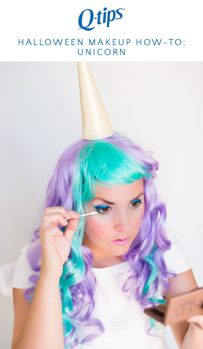 brittnimehlhoff channeled her inner unicorn in this halloween makeup look by using q tips - Best Halloween Makeup To Use